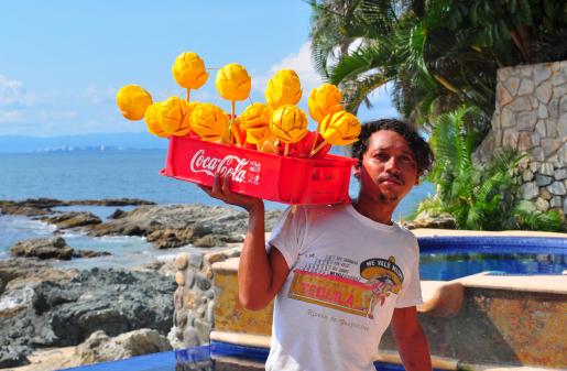 Fruit sticks beside the beach