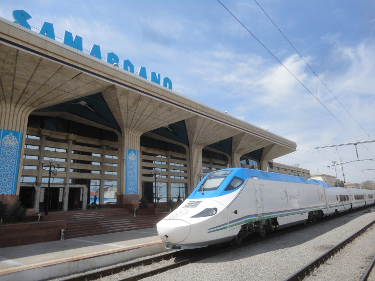 The high-speed train at Samarkand station - time to go home?