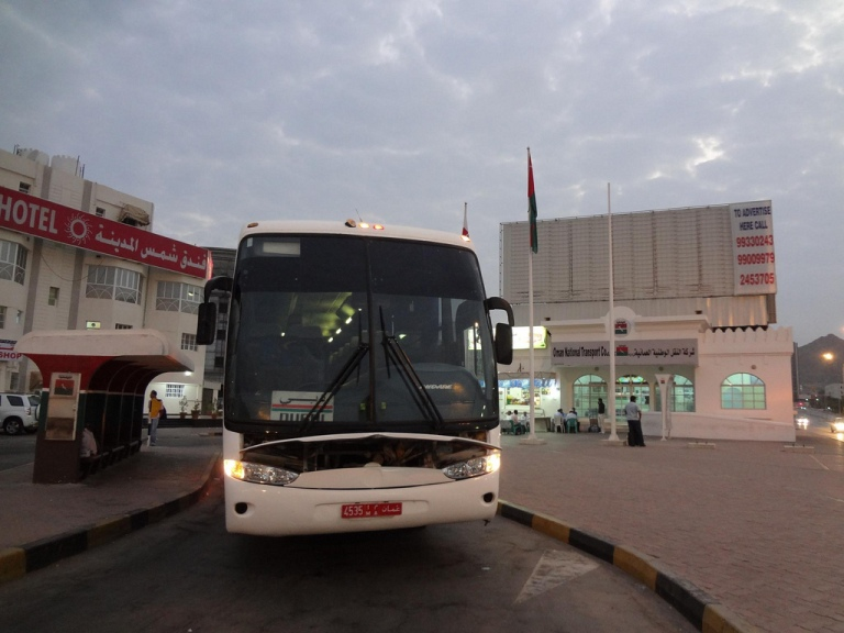 A typical public bus making the journey from UAE to Oman