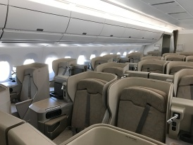 Business class cabin with Asiana's A350 bird