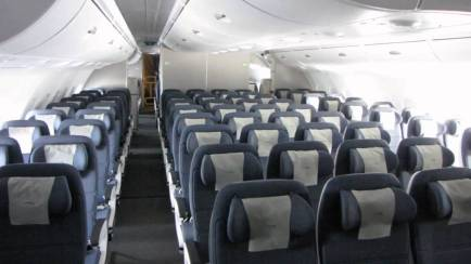 The upper deck economy cabin on the BA A380