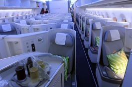 On the A350, it is tight for space on Finnair's Biz cabin