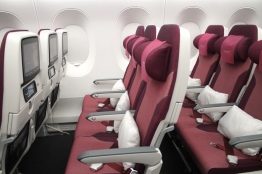 Unlike on the B777, Qatar Airways has 3-3-3 in economy on the A350