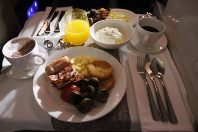 Breakfast in Virgin Atlantic's Upper Class cabin