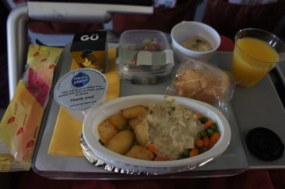 Virgin Atlantic economy class meal